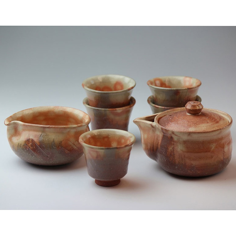 萩焼 彩土煎茶器(木箱) Hagiyaki sencha teapot set made in Japan. Japanese pottery with wood box.
