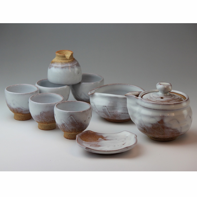 萩焼 白釉煎茶器 木箱入 Japanese ceramic Hagi-ware. Set of sencha teapot and teacups with Wooden box.