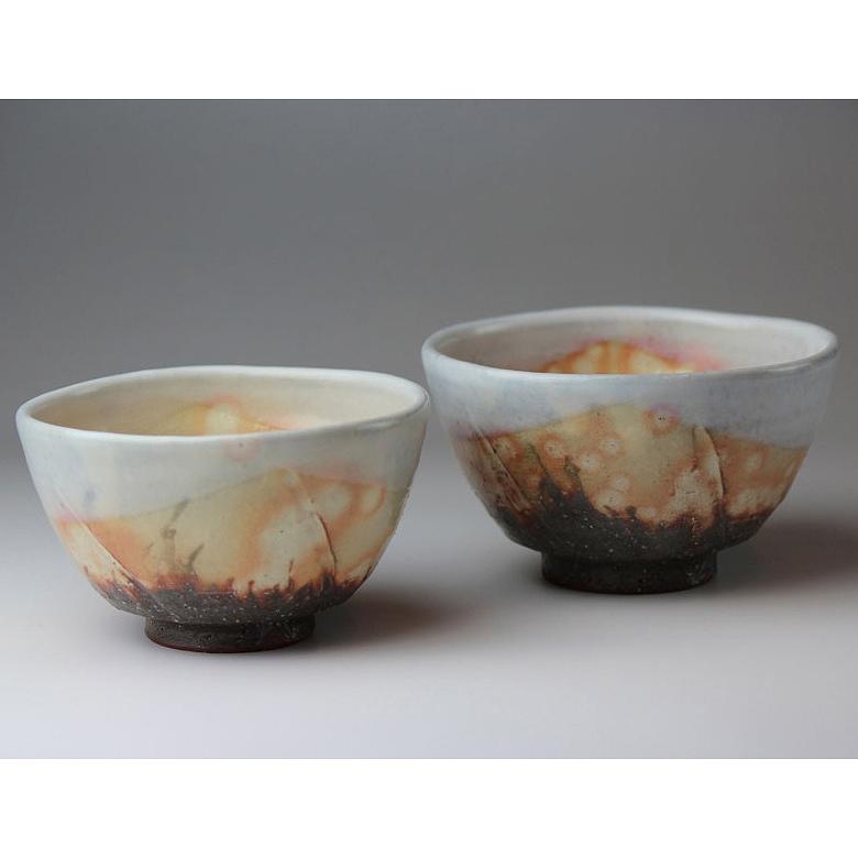 萩焼 紅葉組飯茶碗(化粧箱)  Hagi yaki Koyo 2 bowls made in Japan. Japanese pottery. Free shipping.