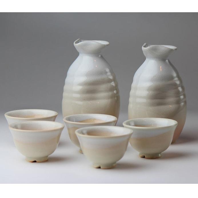 萩焼 夕照酒器(木箱) Hagiyaki Sake bottele server & cups made in Japan. Japanese pottery with wood box.