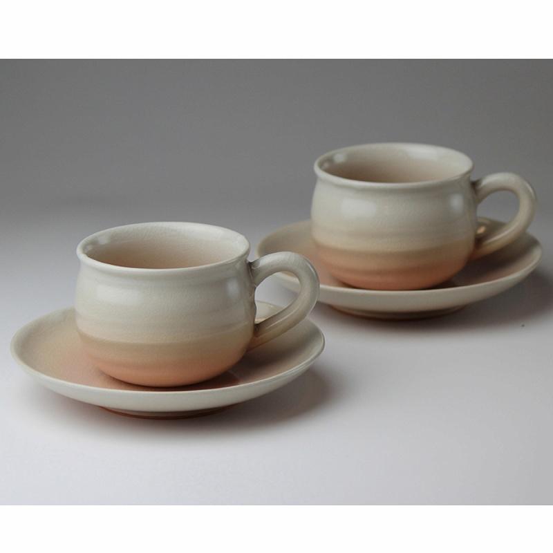 萩焼 姫土珈琲ペア(化粧箱) Hagi yaki Hime cup&saucer 2set made in Japan. Japanese pottery.