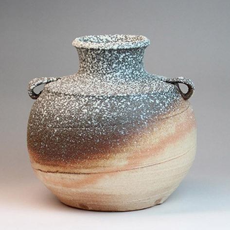 萩焼 花生 流星(木箱) Hagi yaki Ryusei Vase made in Japan. Japanese pottery with wood box. Free shipping.