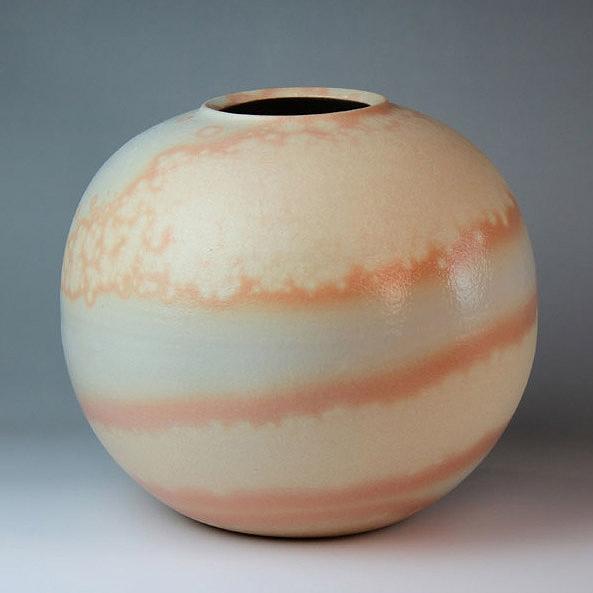 萩焼 花筏壷(木箱) Hagi yaki Vase made in Japan. Japanese pottery with wood box. Free shipping.