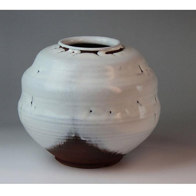 萩焼 かいらぎ壷(木箱) Hagi yaki Ryusei Vase made in Japan. Japanese pottery with wood box. Free shipping.
