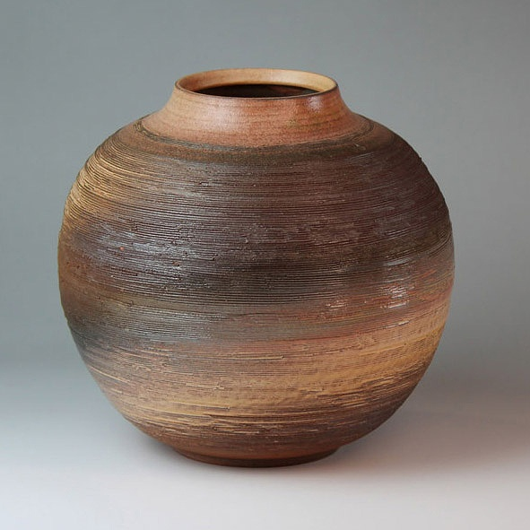 萩焼 暁雲壷(木箱) Hagi yaki Akatsukigumo Vase made in Japan. Japanese pottery with wood box. Free shipping.