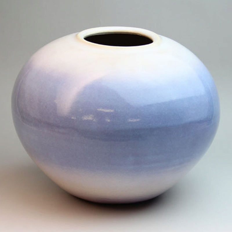 萩焼 あじさい壺 木箱入 Japanese ceramic Hagi-ware. Ajisai purple ikebana flower vase jar with wooden box.