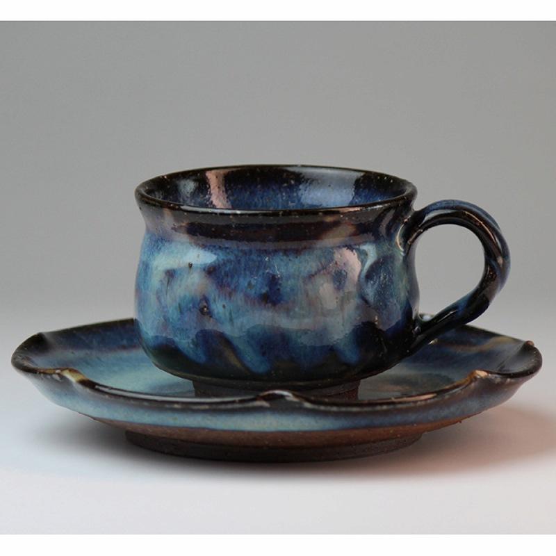 萩焼 藍流珈琲碗皿 清玩作(化粧箱) Hagi yaki airyu cup&saucer made in Japan. Japanese pottery.
