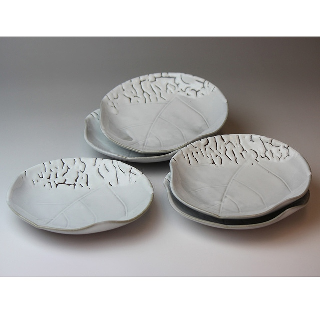 萩焼 かいらぎ木の葉銘々皿揃(木箱) Hagiyaki 5 small plates made in Japan. Japanese pottery with wood box.