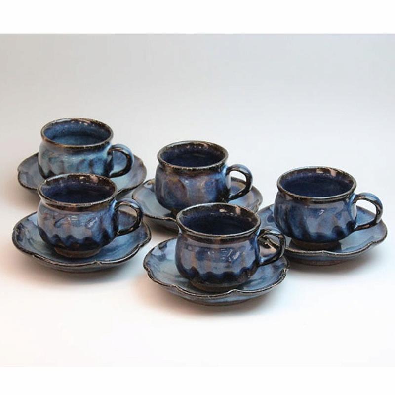 萩焼 藍流珈琲5客セット 清玩作(化粧箱) Hagi yaki airyu cup&saucer made in Japan. Japanese pottery.