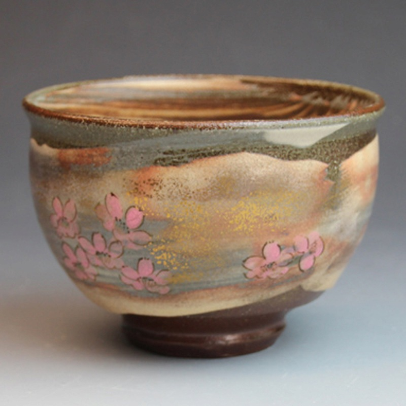 萩焼 御本手抹茶碗 桜 優子作 桐箱入 Japanese ceramic Hagi-ware. Gohonte sakura matcha chawan teabowl with wooden box.