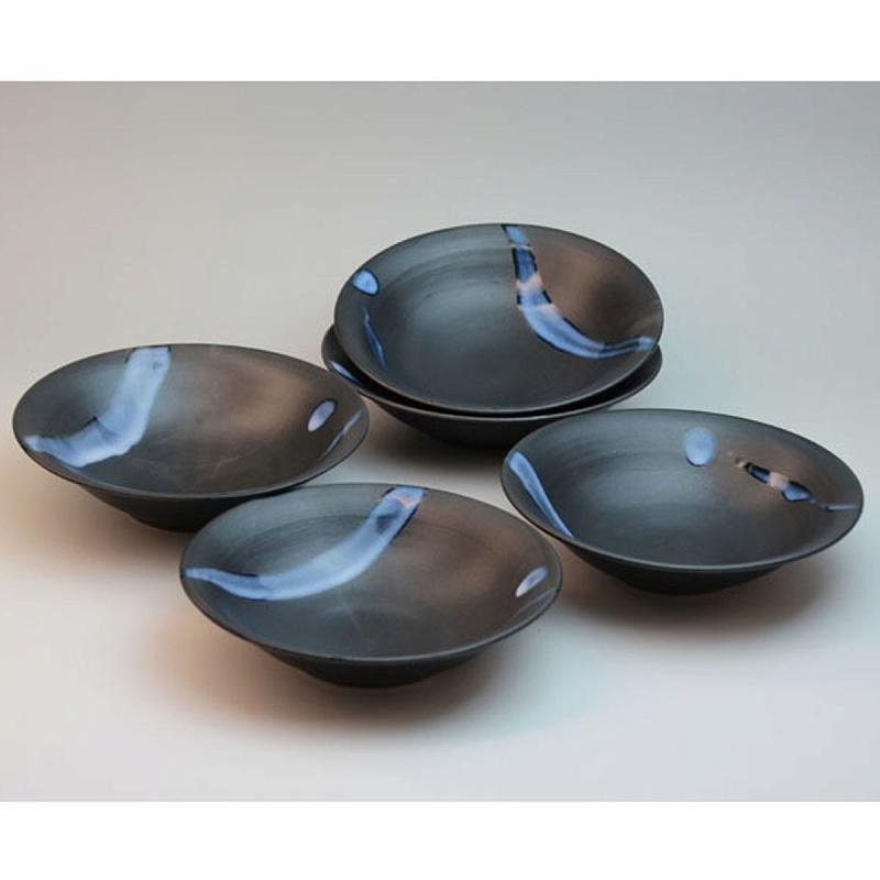 萩焼 白釉流掛丸皿揃 木箱入 船崎透作 Japanese ceramic Hagi-ware.set of 5 small plates made by Toru Funasaki.