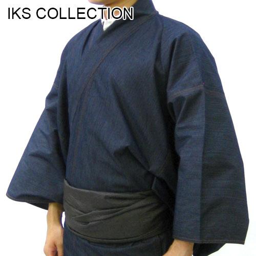 【 IKS COLLECTION 】  リファインデニム 男 デニム 着物 ネイビー  プレタきもの 仕立て上がり着物 M L 2L  【フルオーダー仕立て可能】 男性用 デニム 着物 きもの  日本製 送料込み