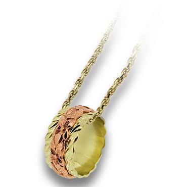 ハワイアンジュエリー ネックレス Laule'a ラウレア K14 ゴールドトロピカルガーデン リング型 ペンダント ハワジュ【オーダーメイド】【刻印無料】【送料無料】OGT209