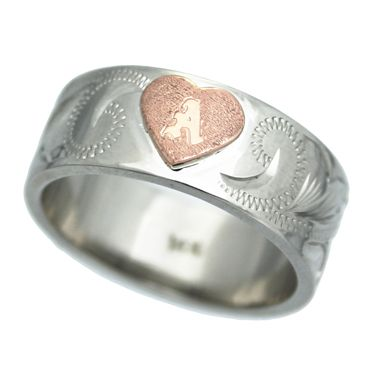 世界にたった一つ・・幸せを運ぶオーダーメイドジュエリー ハワイアンジュエリー リング 14K ゴールド Laule'a ラウレア オーダーメイド3D ハート イニシャル リング・ストレート8mm幅1.5mm厚 レディース 女性 メンズ 男性 指輪 ハワジュ 刻印無料 送料無料 OGR062-8mm