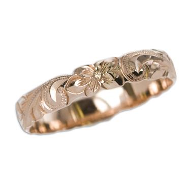 ハワイアンジュエリー リング 14K ゴールド Laule'a ラウレア オーダーメイドバレルカットアウトリング4mm幅 1mm厚 レディース 女性 メンズ 男性 指輪 ハワジュ 刻印無料 送料無料 OGR002-4mm