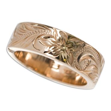 ハワイアンジュエリー リング 14K ゴールド Laule'a ラウレア オーダーメイド レディース 女性 メンズ 男性 ペアリング 指輪 ハワジュ フラット リング6mm幅 2mm厚【刻印無料】【送料無料】OGR013-6mm