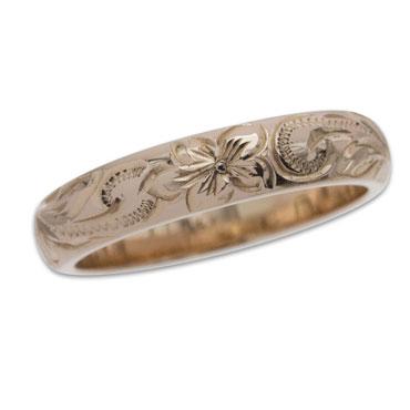 ハワイアンジュエリー リング 14K ゴールド Laule'aラウレア オーダーメイド レディース 女性 メンズ 男性 ペアリング 指輪 ハワジュ バレル リング 4mm幅 1 5mm厚 刻印無料送料無料 OGR005 4mmordeCxB