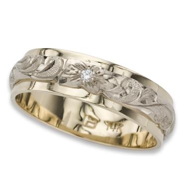 ハワイアンジュエリー リング 14K ゴールド Laule'a ラウレア オーダーメイド レディース 女性 メンズ 男性 ペアリング 指輪 ハワジュ 2トーンリング カットアウト 6mm幅 1.8mm厚【刻印無料】【送料無料】OGR018-6mm