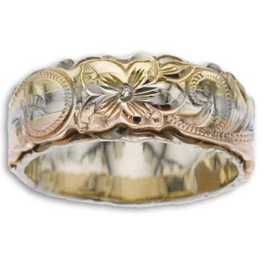 ハワイアンジュエリー リング 14K ゴールド Laule'a ラウレア オーダーメイド レディース 女性 メンズ 男性 ペアリング 指輪 ハワジュ 2トーン トライカラー フラットリング 8mm幅 2mm厚【無料刻印】【送料無料】OGR081