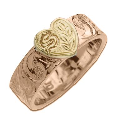 世界にたった一つ 幸せを運ぶオーダーメイドジュエリー ハワイアンジュエリー リング 14K 価格 ゴールド Laule'a ラウレア オーダーメイド ハート イニシャル 男性 指輪 ストレートリング 送料無料 商い 刻印無料 メンズ レディース 女性 ハワジュ 6mm幅 1.5mm厚