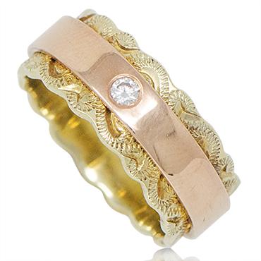 ハワイアンジュエリー リング 14K ゴールド Laule'a ラウレア オーダーメイド ツートーン リング8mm幅2mm厚 レディース 女性 メンズ 男性 指輪 ハワジュ 刻印無料 送料無料 OGR098