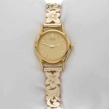 【ハワイアンジュエリー】【腕時計】【ゴールド】14Kブレスレットウォッチ【オーダーメイド】【刻印無料】【送料無料】