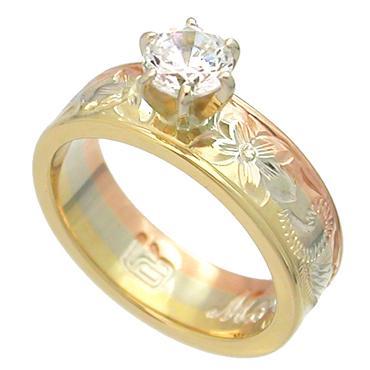 ハワイアンジュエリー リング 14K ゴールド Laule'a ラウレア エンゲージリング オーダーメイド レディース 女性 メンズ 男性 ペアリング 指輪 ハワジュ3色ゴールドタテヅメリング ダイヤモンド(0.25ct)入り6mm幅 結婚指輪 送料無料 刻印無料 LOGR005-Diamond-6mm