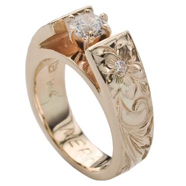 ハワイアンジュエリー リング 14K ゴールド Laule'a ラウレア エンゲージリング オーダーメイド レディース 女性 メンズ 男性 ペアリング 指輪 ハワジュ テーパー フレンチマウント(0.25ctダイヤモンド・0.03ctサイドダイヤモンド入り) 結婚指輪 送料無料 刻印無料
