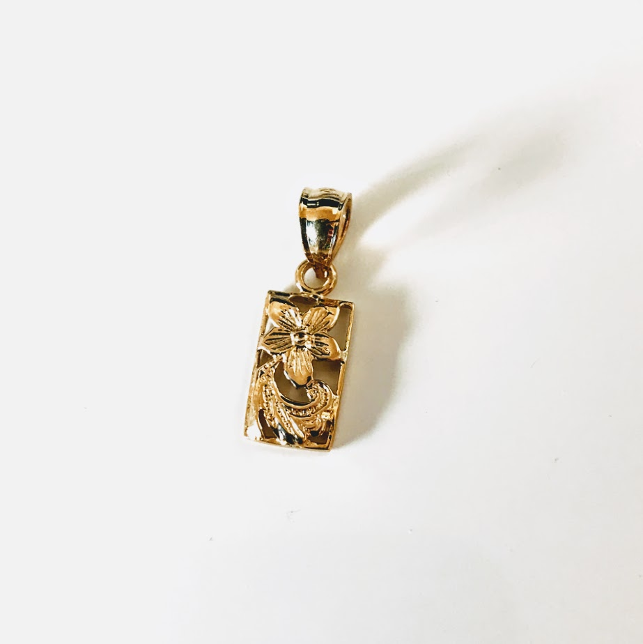 ハワイアンジュエリー K14ゴールドネックレス スクロール プルメリア