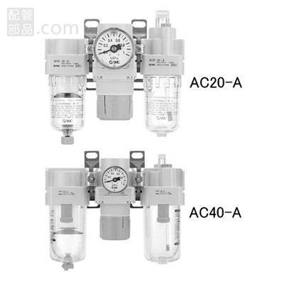 SMC:エアフィルタ+レギュレータ+ルブリケータ 型式:AC25-03DM-A(1セット:10個入)
