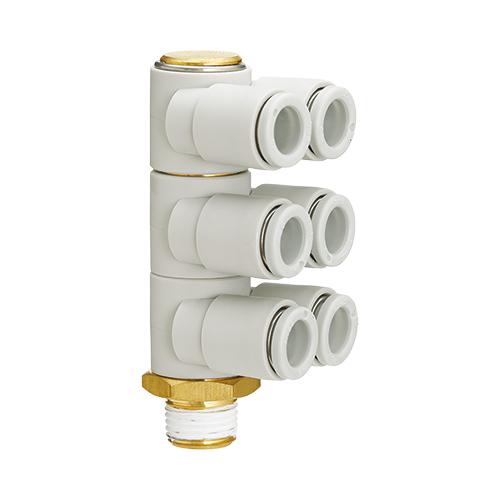 SMC:トリプルブランチユニバーサルエルボ(シール剤) 型式:KQ2ZT10-04AS(1セット:10個入)
