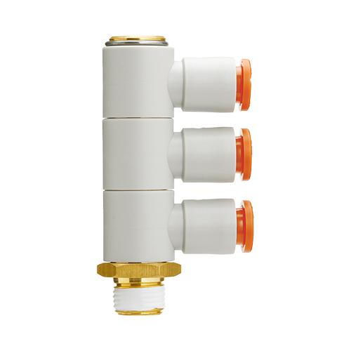 SMC:トリプルユニバーサルエルボ シール剤付 型式:KQ2VT09-37AS(1セット:10個入)