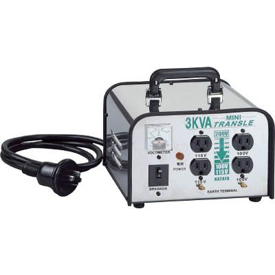 ハタヤリミテッド:ハタヤ ミニトランスル 降圧型 単相200V→100・115V 3.0KVA LV-03CS 型式:LV-03CS