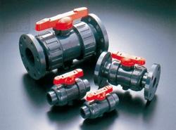 旭有機材工業:ボールバルブ21型(接続:フランジ形 ボディ材質:C-PVC Oリング材質:FKM) 型式:21型-100-C-PVC/FKM(フランジ 10K)