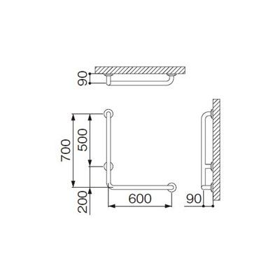 ミヤコ:浴室手摺 MB115-1LS 型式:MB115-1LS-φ38×1.5