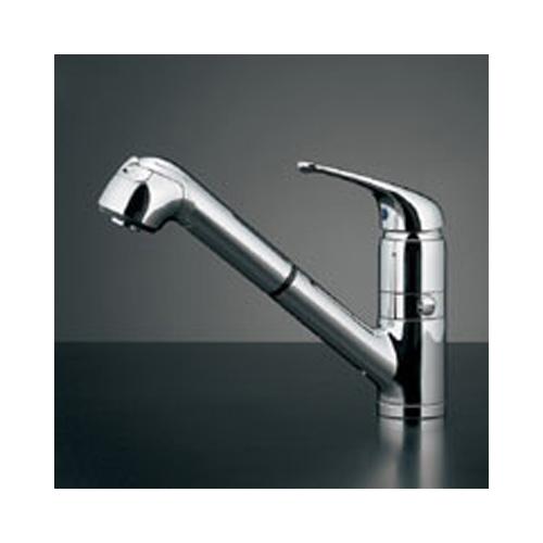 カクダイ:シングルレバー引出し混合栓(分水孔つき) 型式:118-038