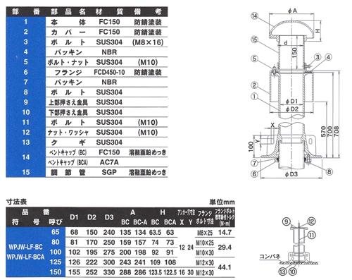 ダイドレ:防水継手ロングタイプ<WPJW-LF-BCA>:WPJW-LF-BCA125