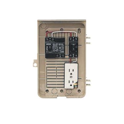 未来工業:屋外電力用仮設ボックス(漏電しゃ断器・分岐ブレーカ・コンセント内蔵) 型式:2-1C
