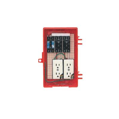 未来工業:屋外電力用仮設ボックス(漏電しゃ断器・分岐ブレーカ・コンセント内蔵) 型式:RB-2A