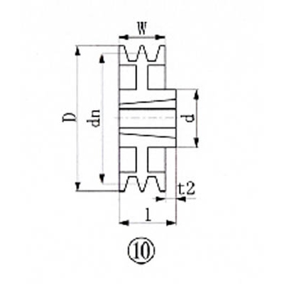 エバオン:EVN ブッシングプーリー SPZ 315mm 溝数2 SPZ315-2 型式:SPZ315-2