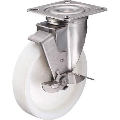 ハンマーキャスター:ハンマー Sシリーズオールステンレス 旋回式ナイロン車輪(ラジアルボールベアリング)200mm ストッパー付 319S-NRB200-BAR01 型式:319S-NRB200-BAR01
