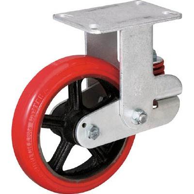 イノアック車輪:イノアック バネ付き牽引車輪(ウレタン車輪タイプ 固定金具付 Φ200) KTU-200WK-RS 型式:KTU-200WK-RS