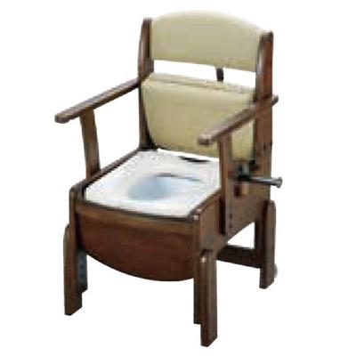 リッチェル:木製トイレ きらく コンパクト(固定式肘掛けタイプ) 型式:18520