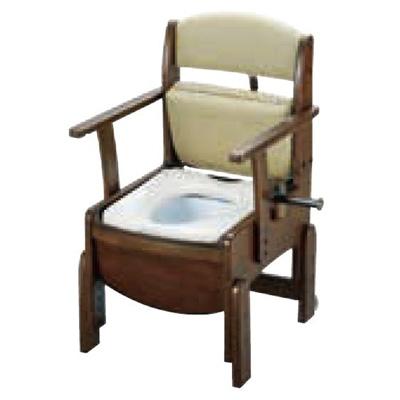 リッチェル:木製トイレ きらく コンパクト(固定式肘掛けタイプ・脱臭器付) 型式:18610
