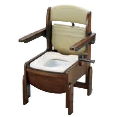 リッチェル:木製トイレ きらく コンパクト (跳ね上げ式肘掛けタイプ・脱臭器付) 型式:18650