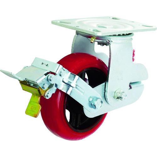 イノアック車輪:イノアック 牽引台車用キャスター バネタイプ ストッパー・旋回金具付 Φ150 KTU-150WJS-YS 型式:KTU-150WJS-YS