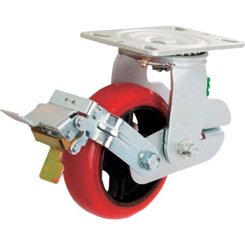 イノアック車輪:イノアック 牽引台車用キャスター バネタイプ ストッパー・旋回金具付 Φ200 KTU-200WJS-GS 型式:KTU-200WJS-GS