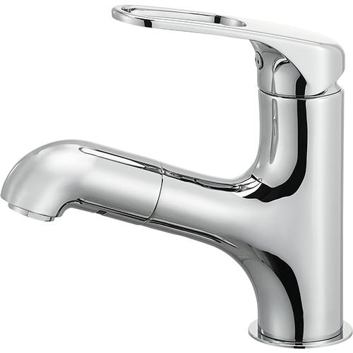 SANEI(旧:三栄水栓製作所):シングルワンホール洗面混合栓(省施工ナット付) 型式:K4713JV-U-13