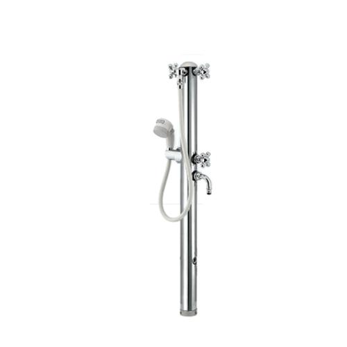 カクダイ:ステンレス双口シャワー混合栓柱(ペット用) 型式:624-206