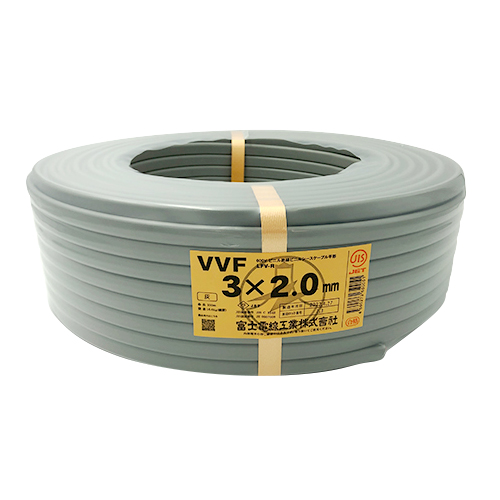 電設資材 電線 ケーブル VVFケーブル 富士電線工業: 型式:VVF3cx2.0 豪華な 1セット:100m入 半額 100M 600V絶縁ビニルシースケーブル平形